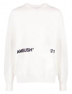 Unisex ecru AMBUSH sweatshirt with logo on front - SS21