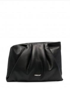 "Black ""Wrap Clutch"" rectangle handbag for women - SS21"