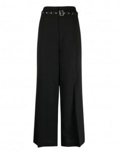 AMBUSH wide-leg black pants with high waist belt for women - SS21