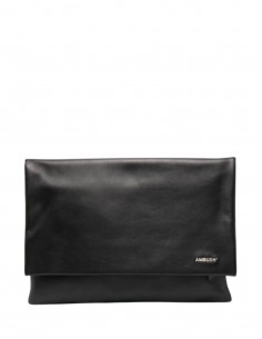 AMBUSH computer pouch in black leather with logo - SS21