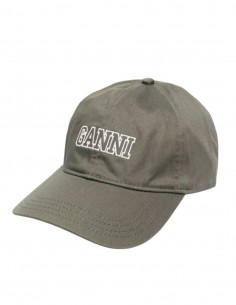 GANNI cap in khaki cotton with embroidered logo for women - SS21