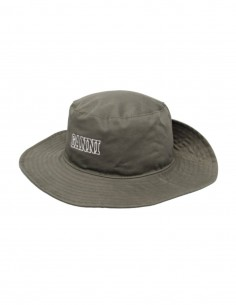 GANNI khaki bucket hat with logo and press stud for women - SS21