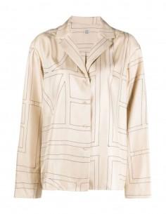 Chemise TOTËME monogramme en soie beige pour femme - FW21