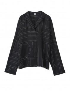 Chemise TOTËME monogramme en soie noire pour femme - FW21