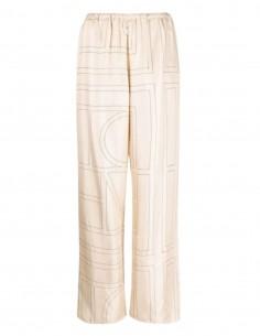 TOTËME beige silk monogram pants for women - FW21