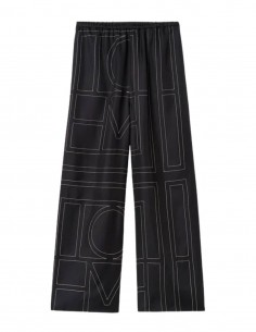 TOTËME black silk monogram pants for women - FW21