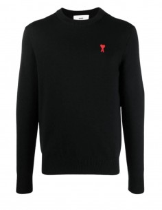 """AMI PARIS """"Best Friend"""" sweater in black knit with logo for men - SS21"""