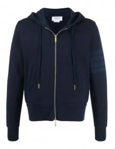 THOM BROWNE blue zipped four-stripe sweatshirt for men