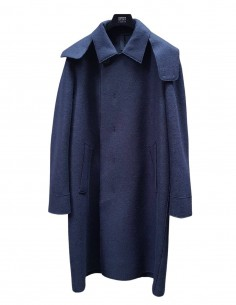 Blue HARRIS WHARF oversized coat with hood for men - SS21