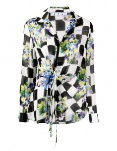OFF-WHITE wrap blouse with checkerboard and flower print - SS21