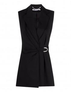 OFF-WHITE black sleeveless wrap jacket with drape for women - SS21