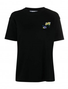 """Black T-shirt with """"Arrows"""" checkerboard and flowers print for women - SS21"""
