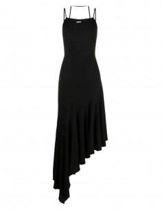 Longue robe OFF-WHITE asymétrique noire patineuse à bretelles - SS21