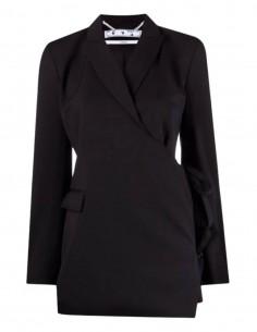 OFF-WHITE black wrap-over blazer jacket to tie for women - SS21