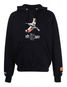 "HERON PRESTON black hooded sweatshirt with ""heron"" print for men - SS21"