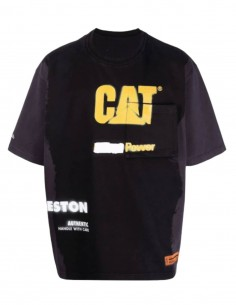 HERON PRESTON x Caterpillar black t-shirt with logo for men - SS21