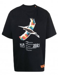 "HERON PRESTON oversized black t-shirt with ""heron"" print for men - SS21"