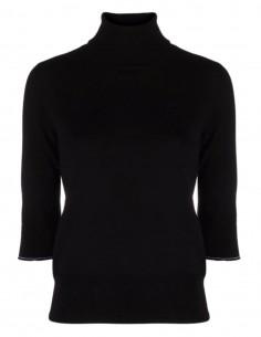 Pull noir MM6 à manches courtes et coudières en cuir pour femme - FW21