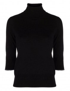 MM6 black sweater with short sleeves and elbow patches for women - FW21