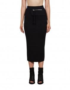 Black long slit THOM KROM skirt with zipped kangaroo pocket - SS21