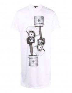 Long t-shirt COMME DES GARÇONS HOMME PLUS blanc en résille imprimé boulon - SS21