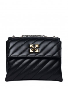 """OFF-WHITE black """"Jackhammer"""" bag with gold and silver chain for women - SS21"""