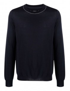MAISON MARGIELA navy blue sweater with contrasting seams for men - FW21