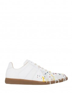 "MAISON MARGIELA white ""Replica"" sneakers with splashes for men - FW21"