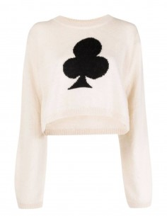MM6 beige cropped sweater with black clover for women - FW21