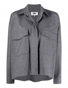 Chemise MM6 grise coupe courte oversize avec poches pour femme - FW21