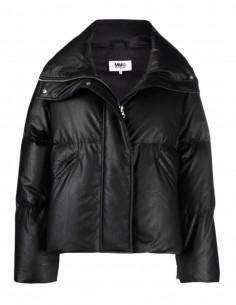 MM6 oversized short puffed jacket in black imitation leather for women - FW21