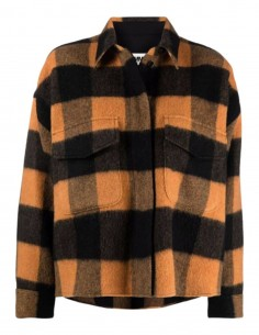 Oversized MM6 overshirt in orange checked wool for women - FW21