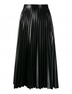 MM6 A-line pleated skirt in black imitation leather for women - FW21