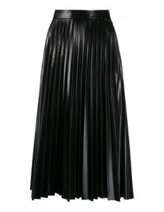 Jupe trapèze plissée MM6 en simili cuir noir pour femme - FW21