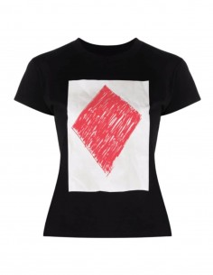 MM6 black t-shirt with red diamond print for women - FW21