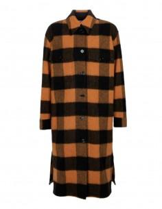 Long oversized MM6 orange checked overshirt for women - FW21