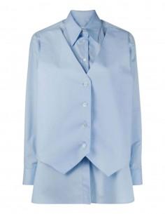 Chemise en popeline bleue MM6 avec gilet intégré pour femme - SS21