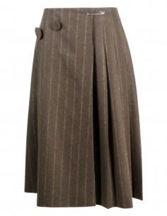 MM6 striped khaki pleated wool wrap skirt - FW21