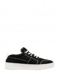 AMI PARIS low-top sneakers in black denim with logo for men - SS21