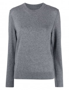 MAISON MARGIELA grey cashmere sweater with stitching for women - FW21
