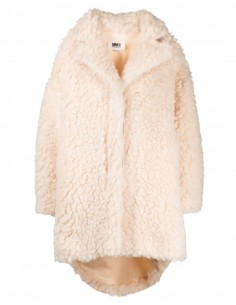 MM6 ecru oversized fake fur coat for women - FW21