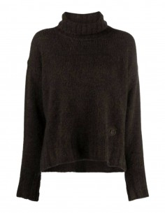 MM6 khaki roll neck sweater with embroidered logo for women - SS21