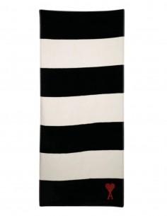 Serviette de plage AMI PARIS rayée noire et blanche avec logo - FW21