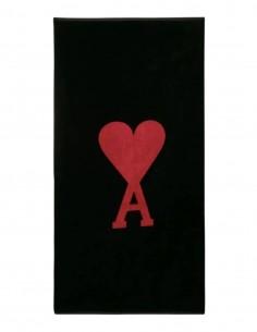 Serviette de plage AMI PARIS noire avec grand logo brodé - FW21