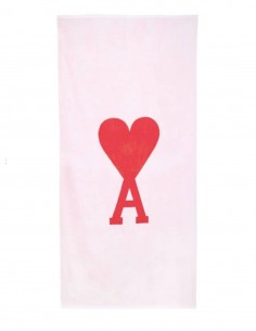 AMI PARIS pink beach towel with large embroidered logo - FW21