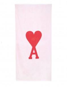 Serviette de plage AMI PARIS rose avec grand logo brodé - FW21