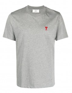"AMI PARIS grey t-shirt with ""Ami de coeur"" logo for men - FW21"