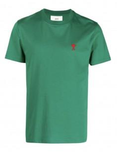 "AMI PARIS green t-shirt with ""Ami de coeur"" logo for men - FW21"