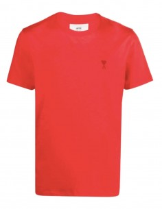 "AMI PARIS red t-shirt with ""Ami de coeur"" logo for men - FW21"