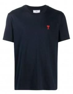 "AMI PARIS navy t-shirt with ""Ami de coeur"" logo for men - FW21"